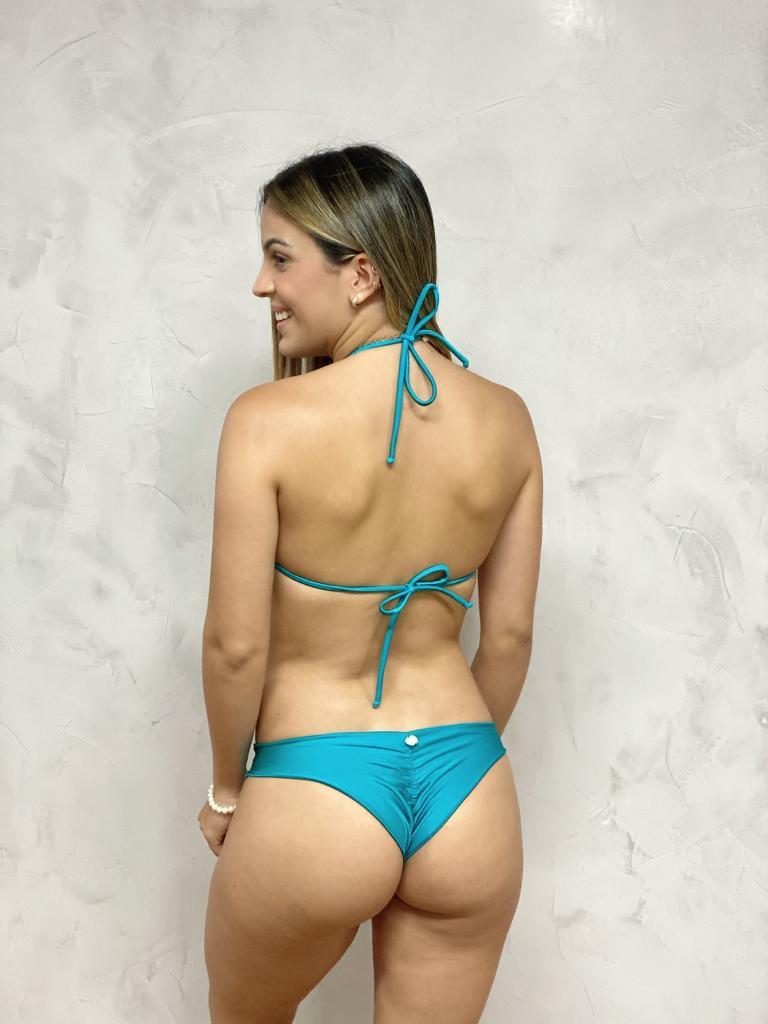 Calcinha Ripple Azul Turquesa Metalizado   - RMCE BRAZIL