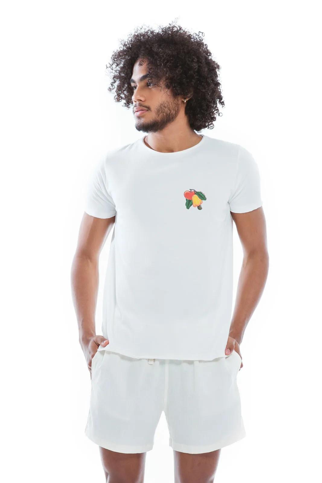 Camiseta Gola Fio Cajú Maçã