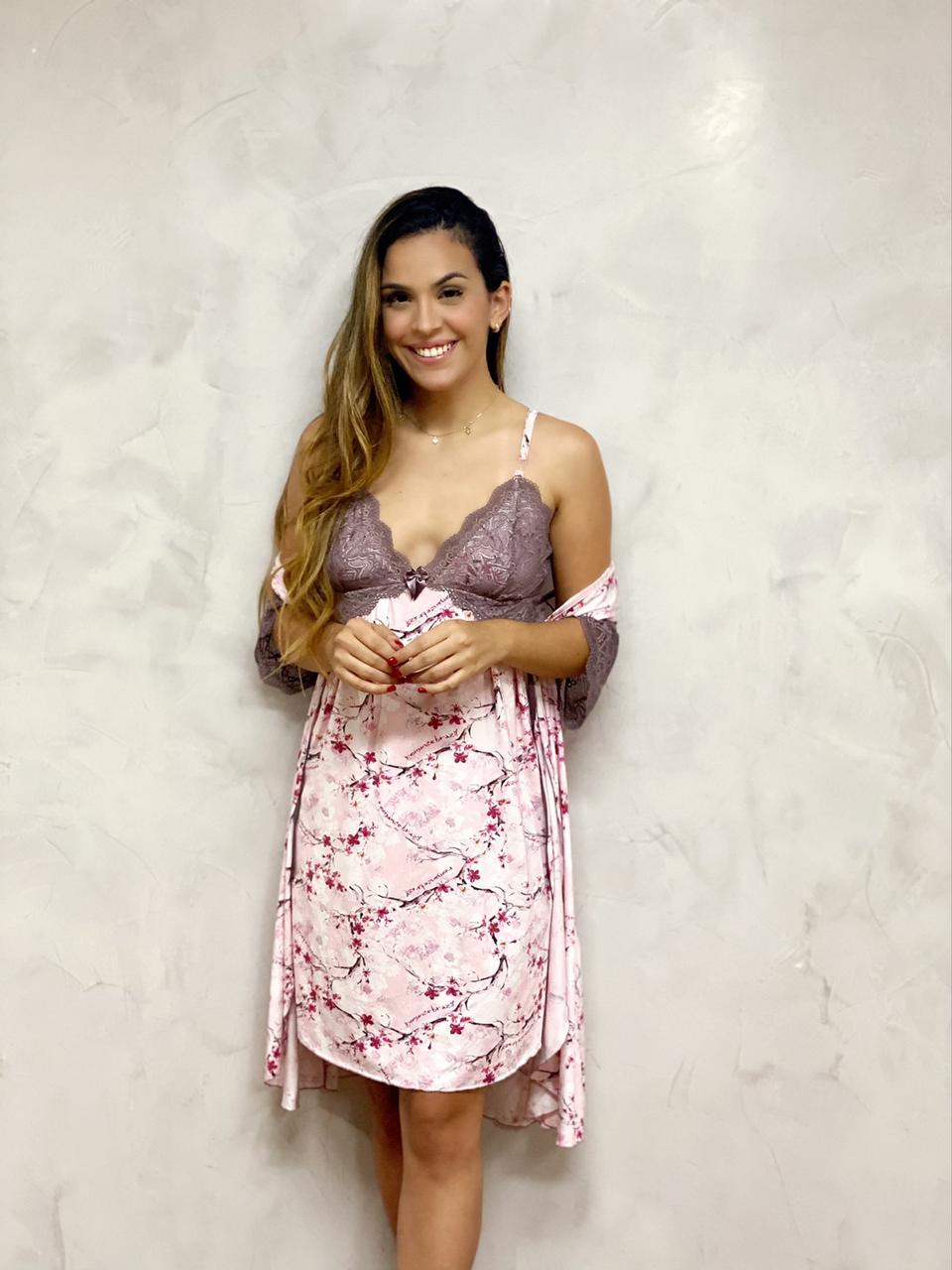 Camisola Amamentação Renda Lavanda   - RMCE BRAZIL