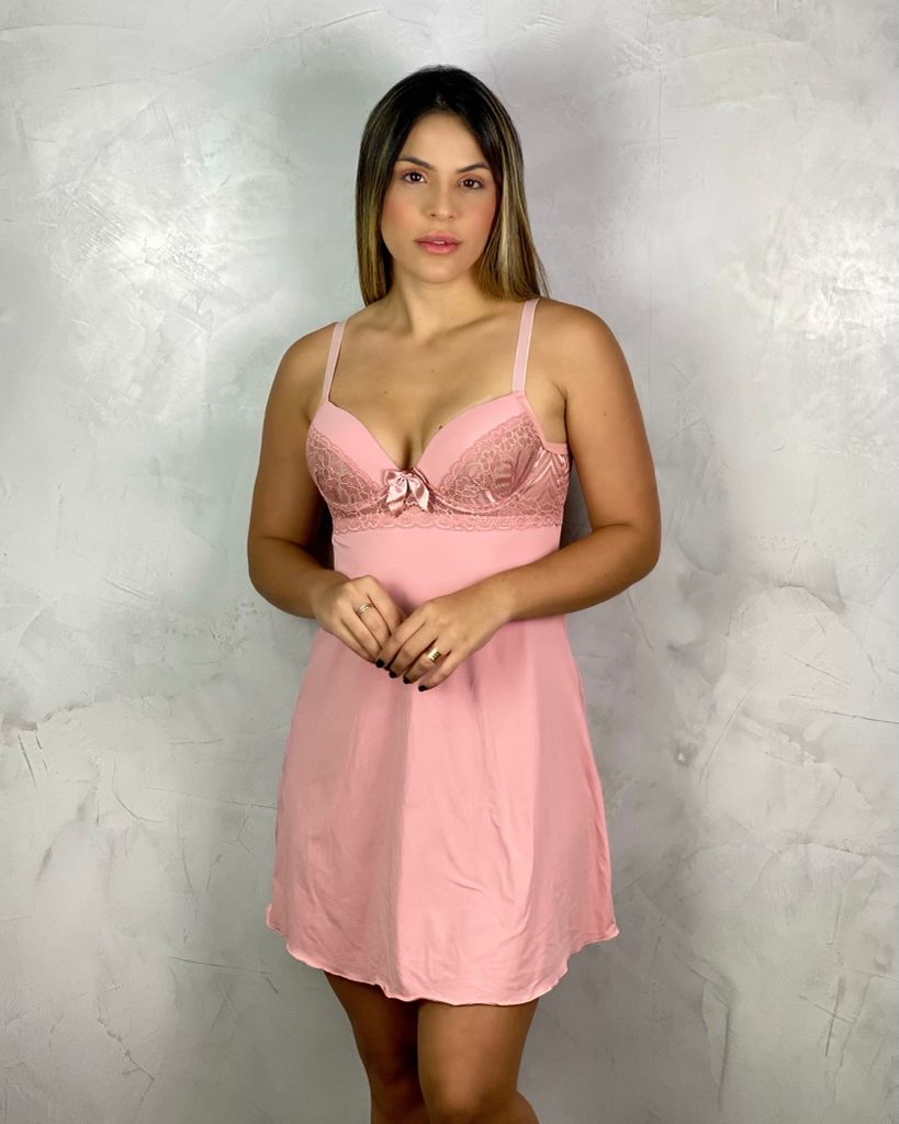 Camisola Micro com Bojo Rosa