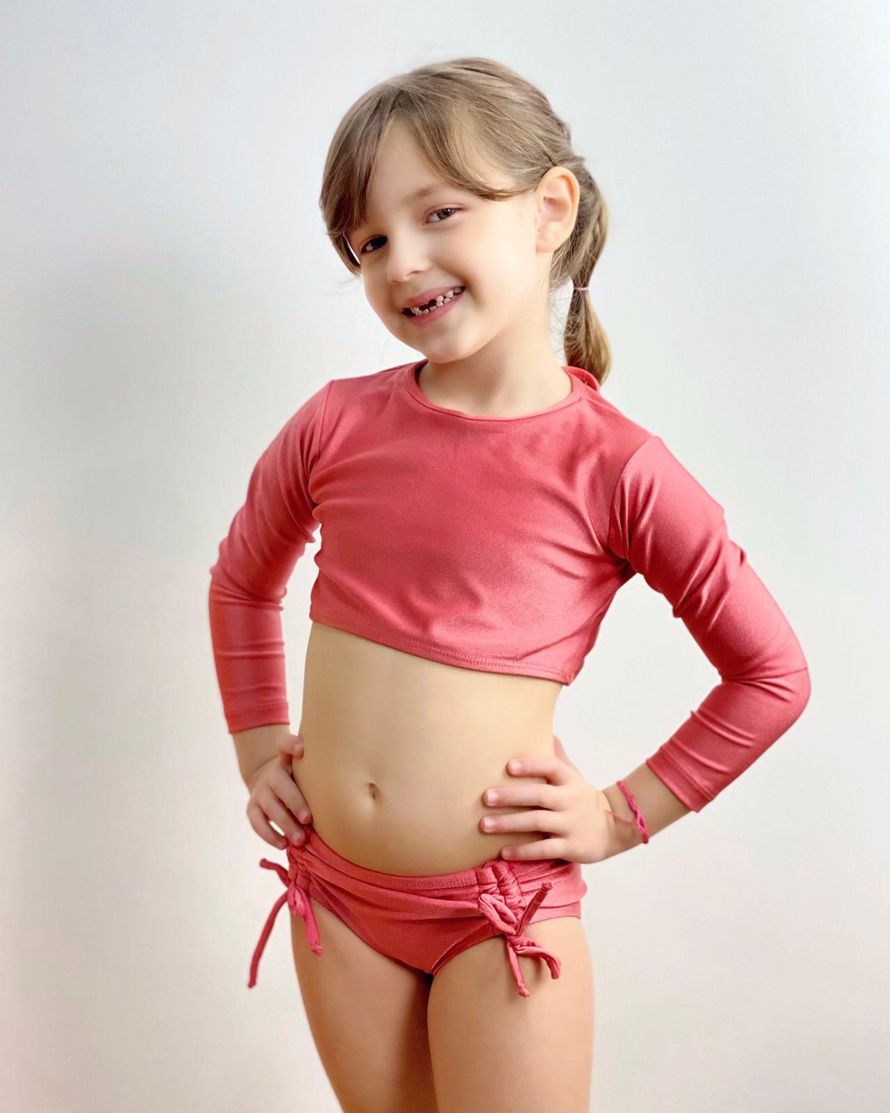 CÓPIA - Biquíni Infantil Cropped Manga Longa Goiaba