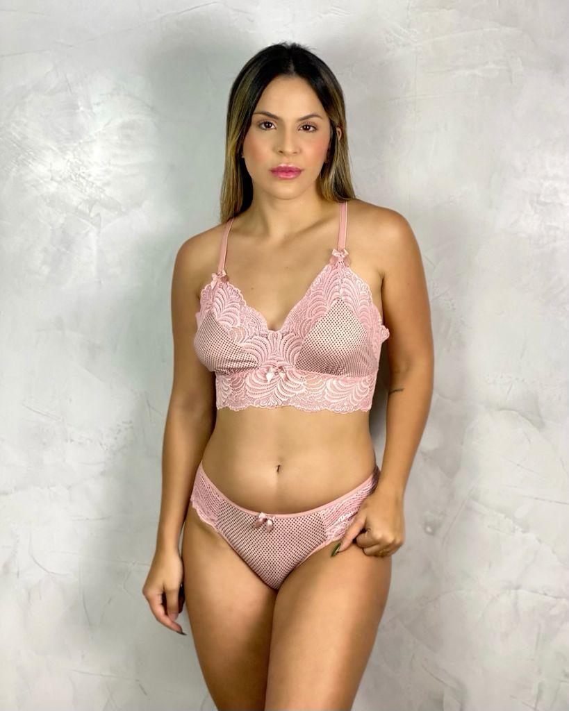 Cropped + Tanga Póa Renda Rosa