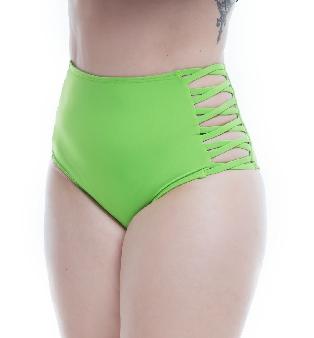Hot Pants Lateral Cruzada Verde Flúor