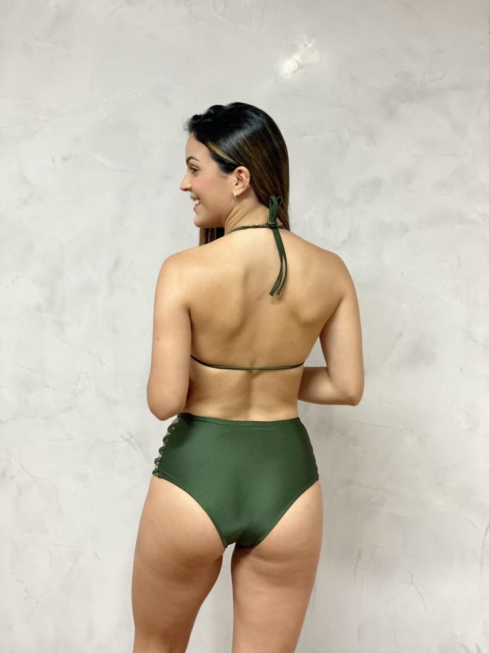 Hot Pants Lateral Verde Metalizado  - RMCE BRAZIL