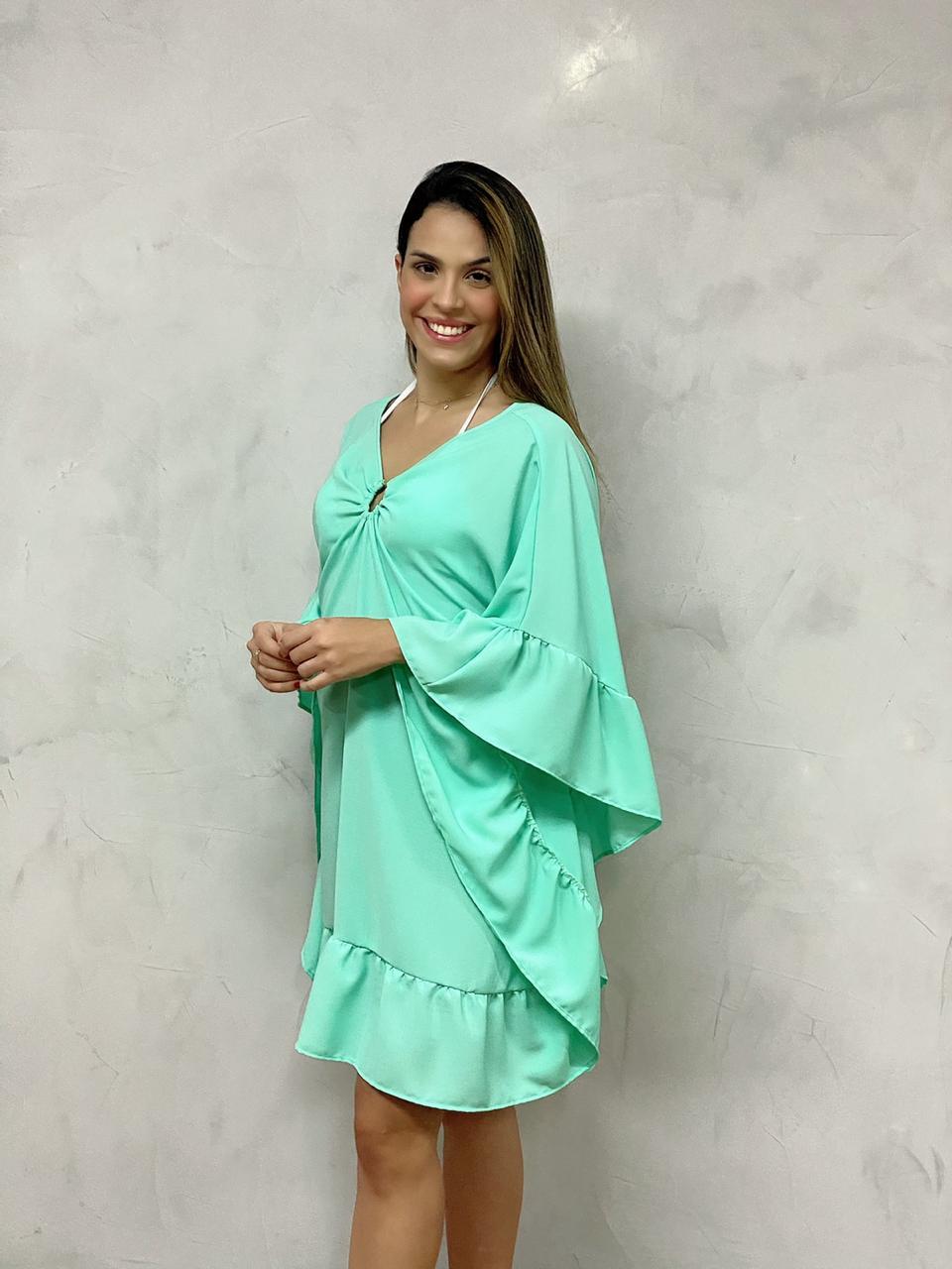 Kafta Argola Babados Verde Áqua   - RMCE BRAZIL