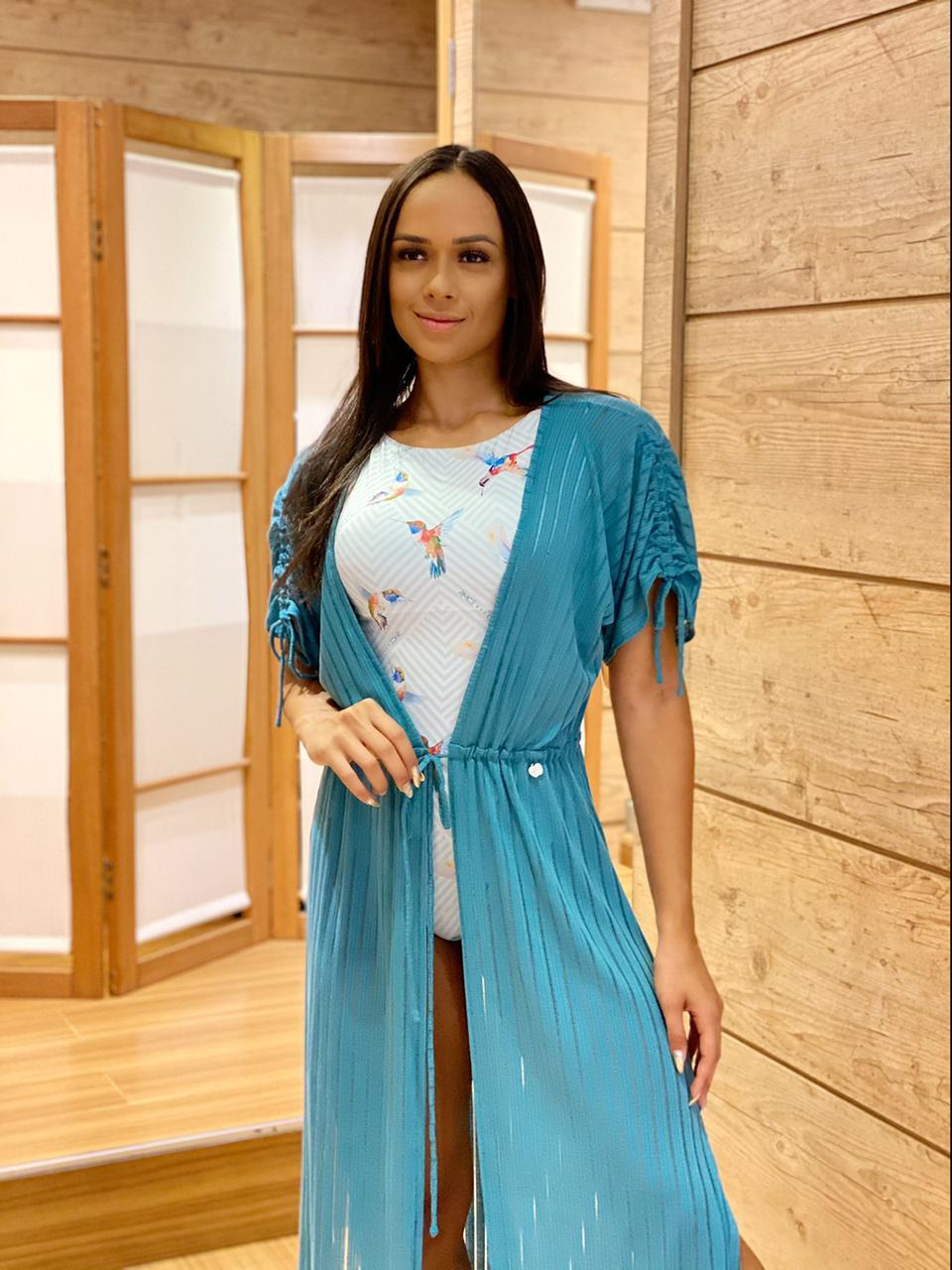 Kafta Longa Franzida Azul Turquesa   - RMCE BRAZIL