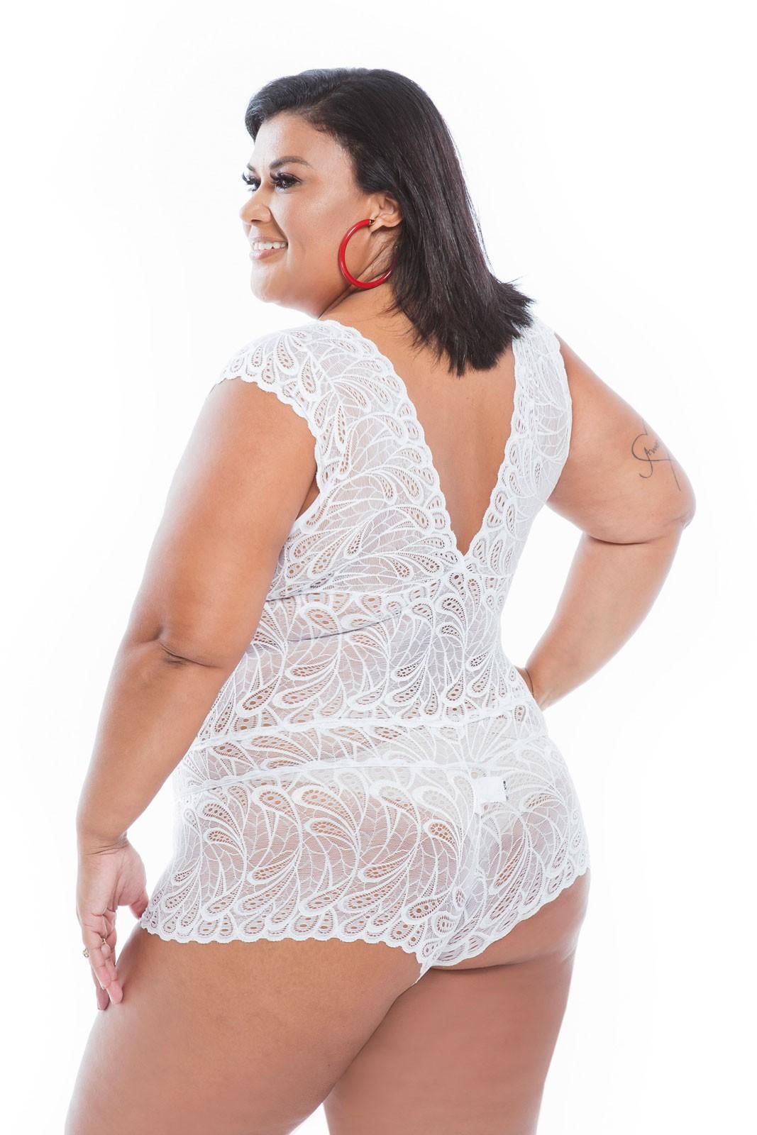 Macaquinho Regata Renda Branco  - RMCE BRAZIL