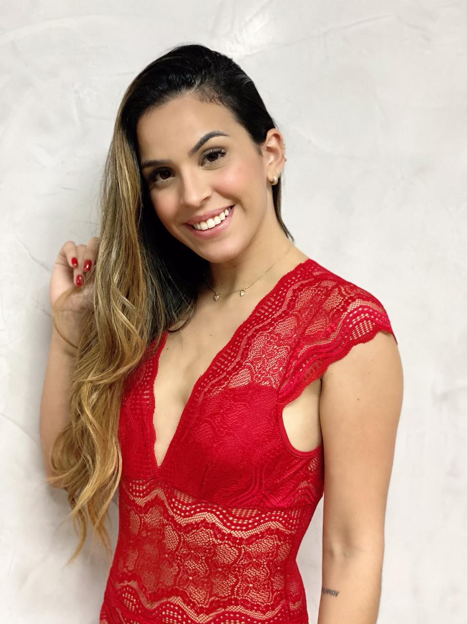 Macaquinho Regata Renda Vermelho  - RMCE BRAZIL