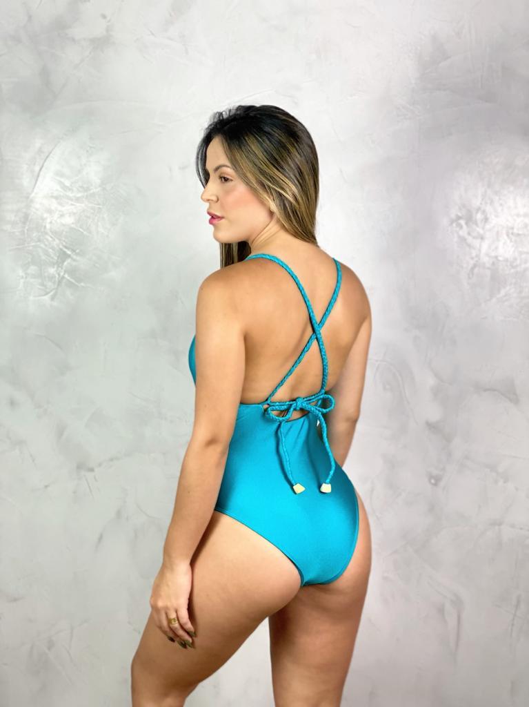 Maiô Alça Trama Azul Turquesa Metalizado  - RMCE BRAZIL