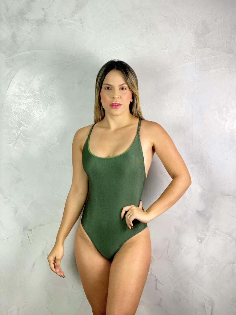 Maiô Alça Trama Verde Metalizado  - RMCE BRAZIL