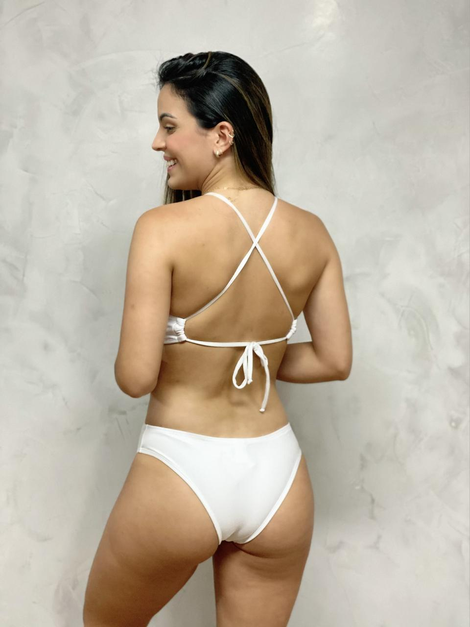 Maiô Body Decote Acessório Branco   - RMCE BRAZIL