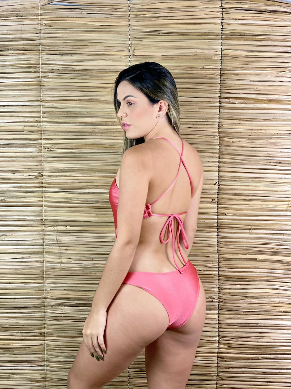 Maiô Body Decote Acessório Goiaba Metalizado  - RMCE BRAZIL