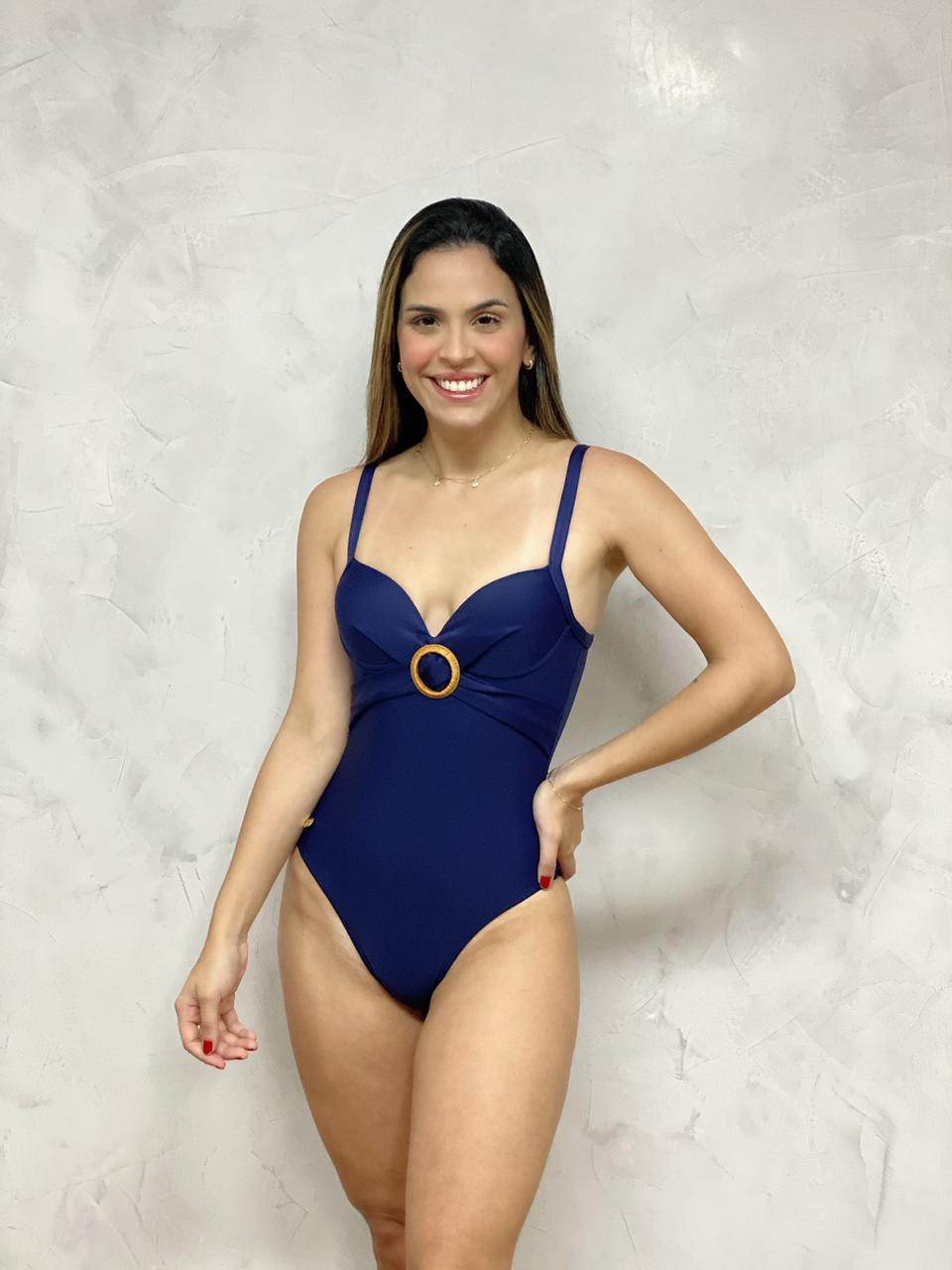 Maiô com Bojo Aspa Acessório Azul Marinho