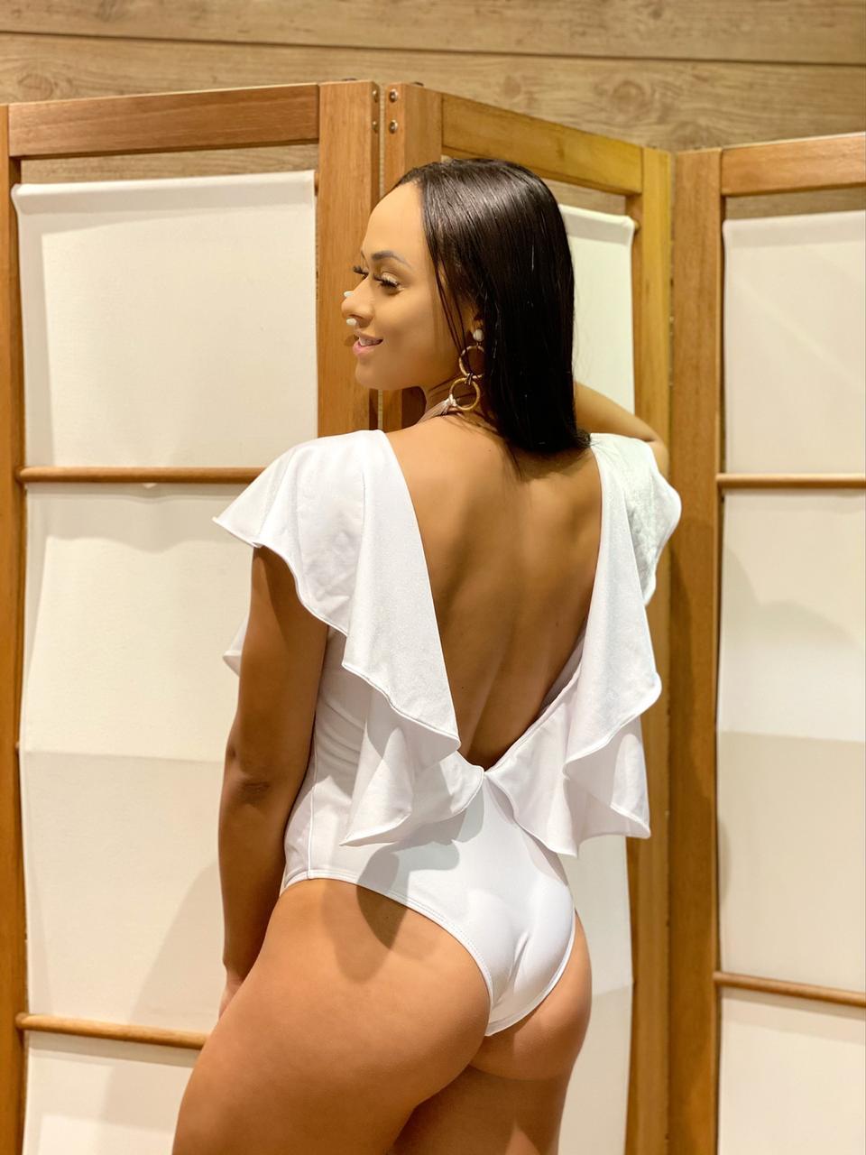 Maiô Decote Babados Branco   - RMCE BRAZIL