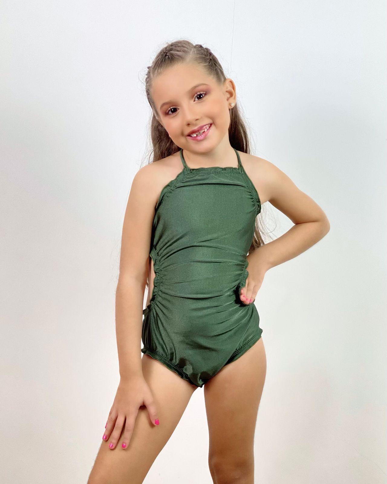 Maiô Infantil Ripple Verde Metalizado