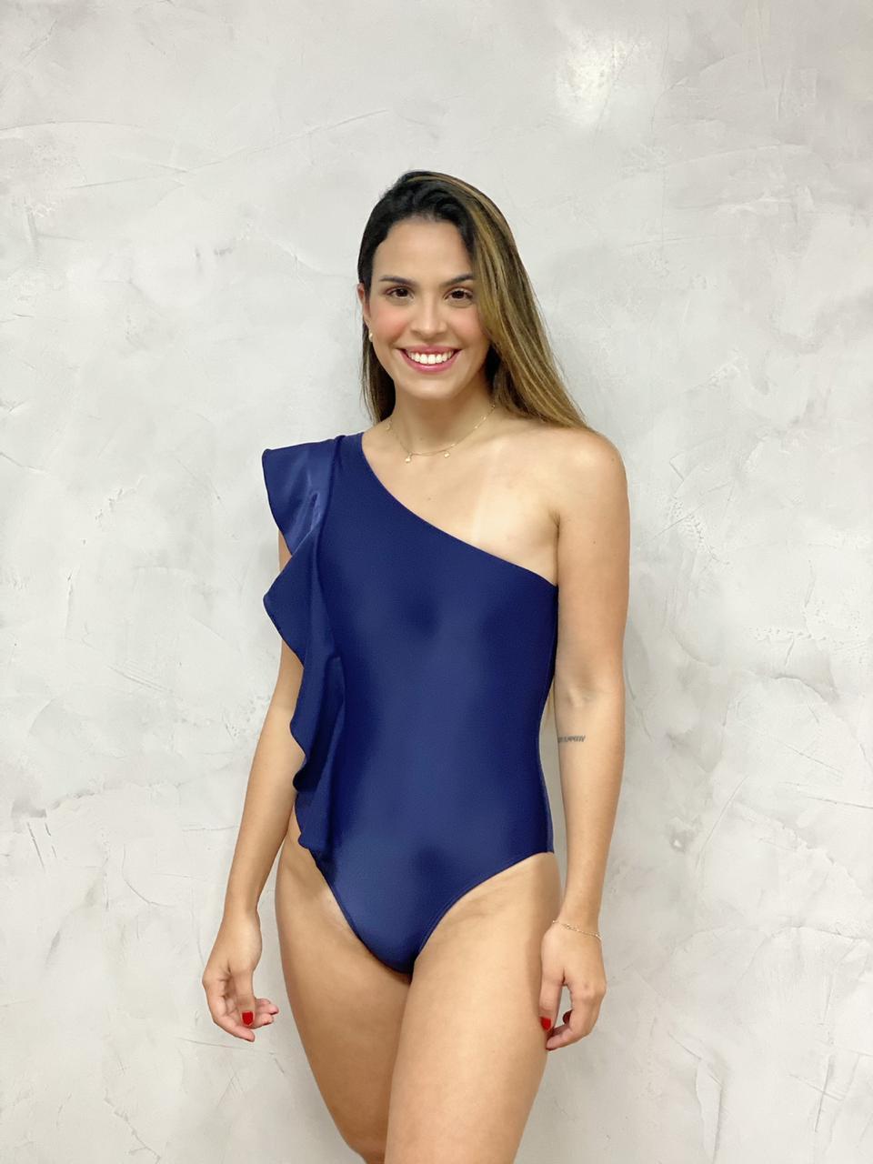 Maiô Ombro Babados Azul Marinho   - RMCE BRAZIL