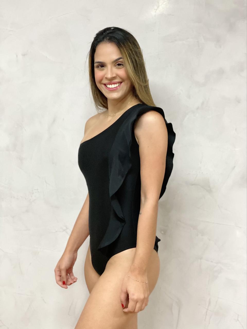 Maiô Ombro Babados Preto  - RMCE BRAZIL