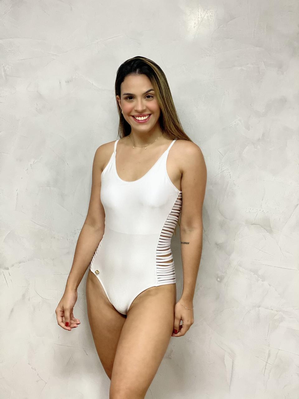 Maiô Tiras Lateral Branco