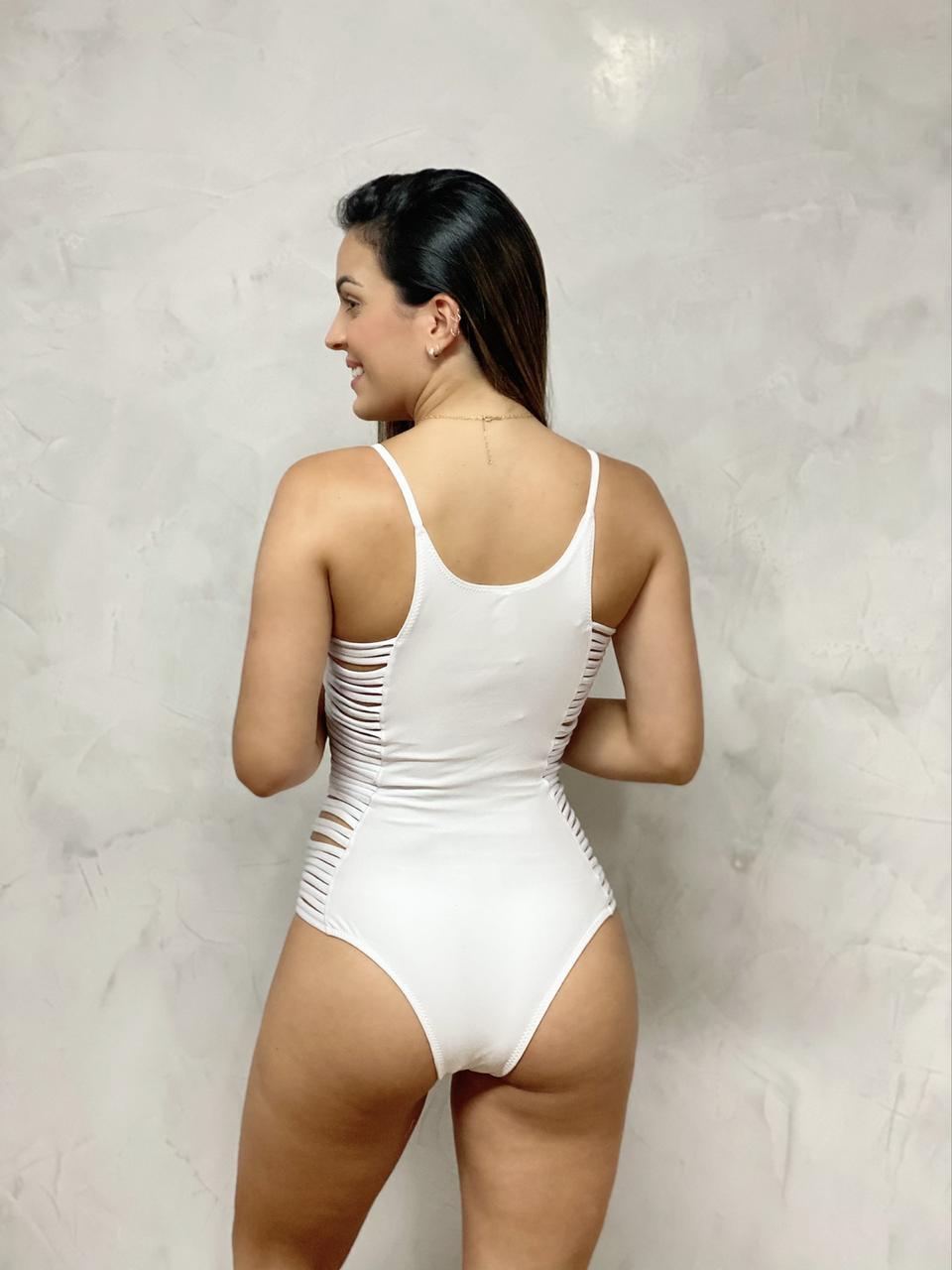 Maiô Tiras Lateral Branco   - RMCE BRAZIL