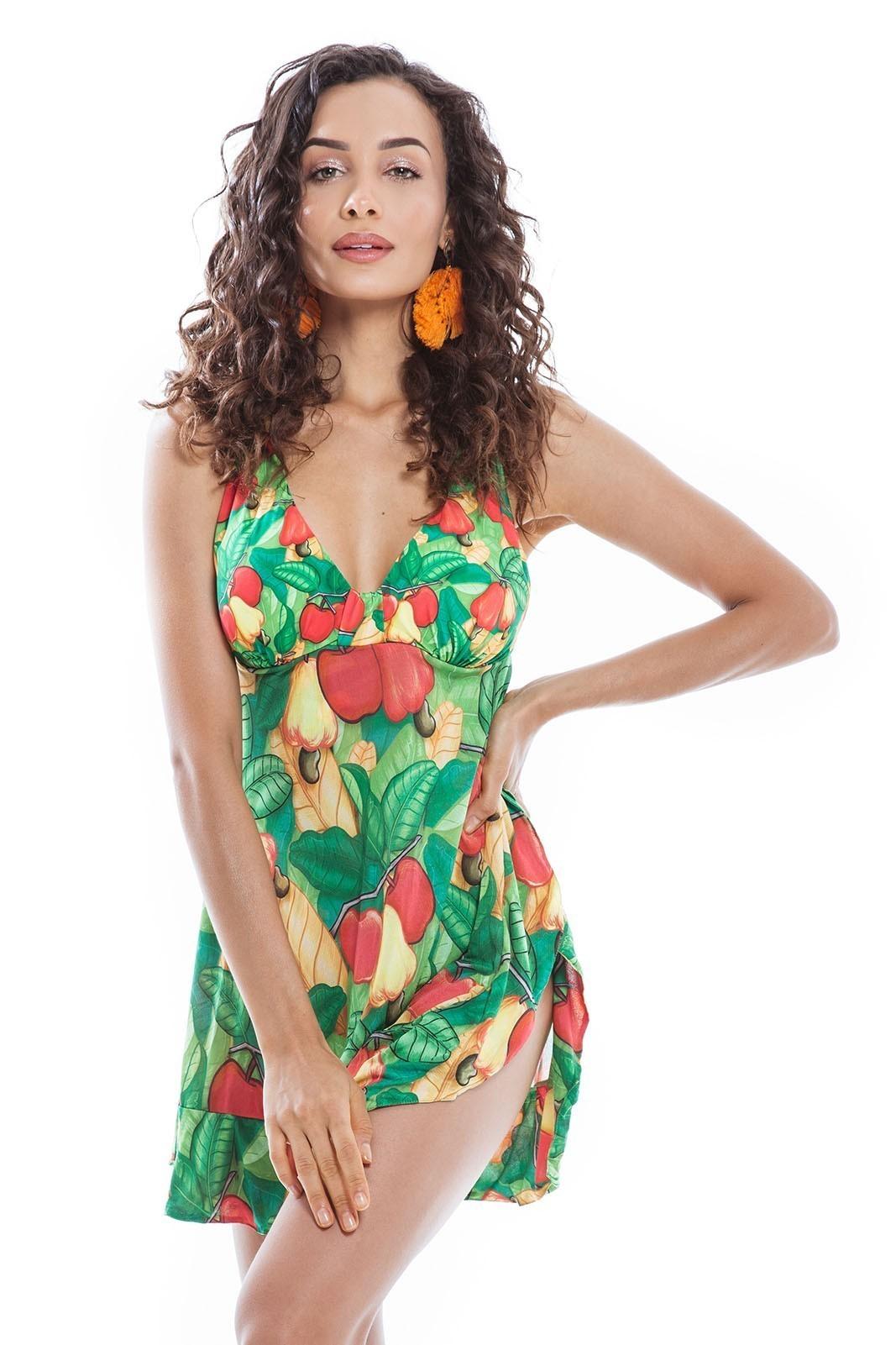 Maiô Vestido Crepe Cajú/Maçã