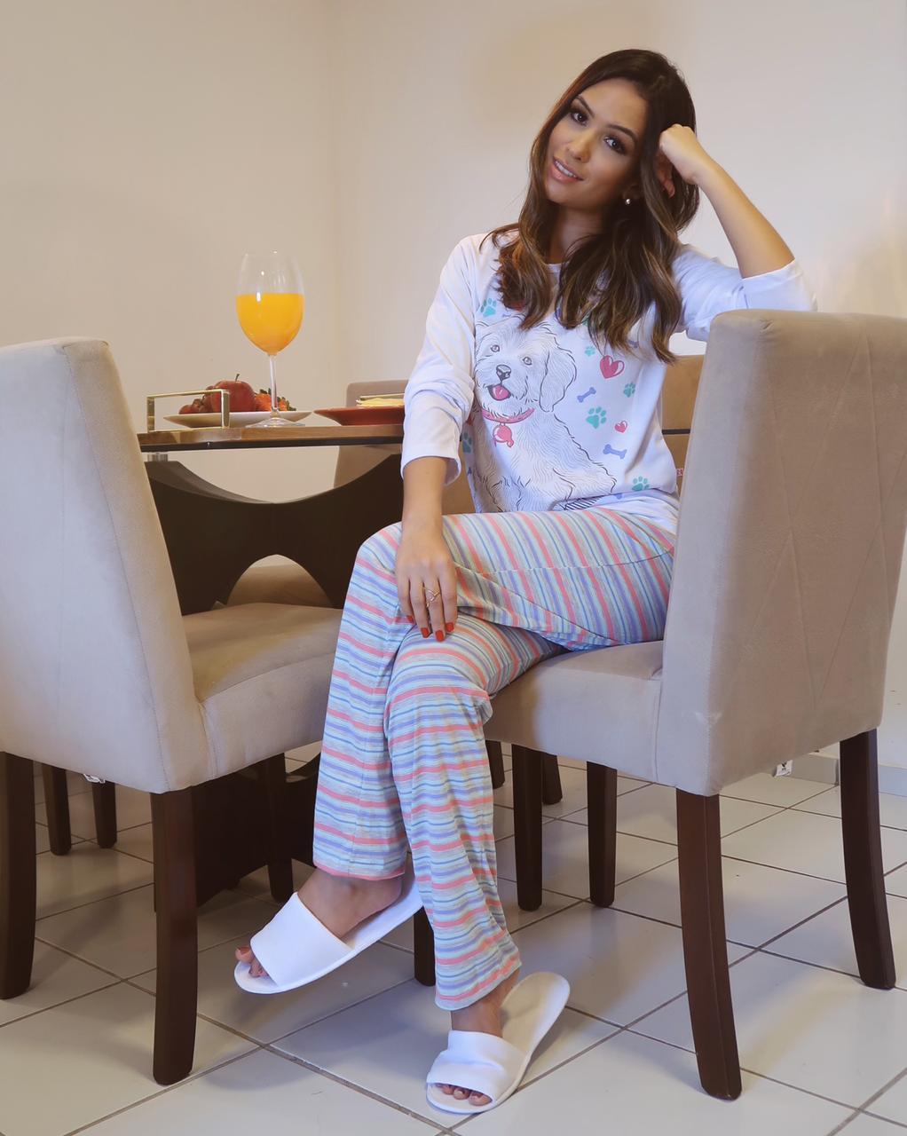 Pijama Adulto Longo Cachorrinho