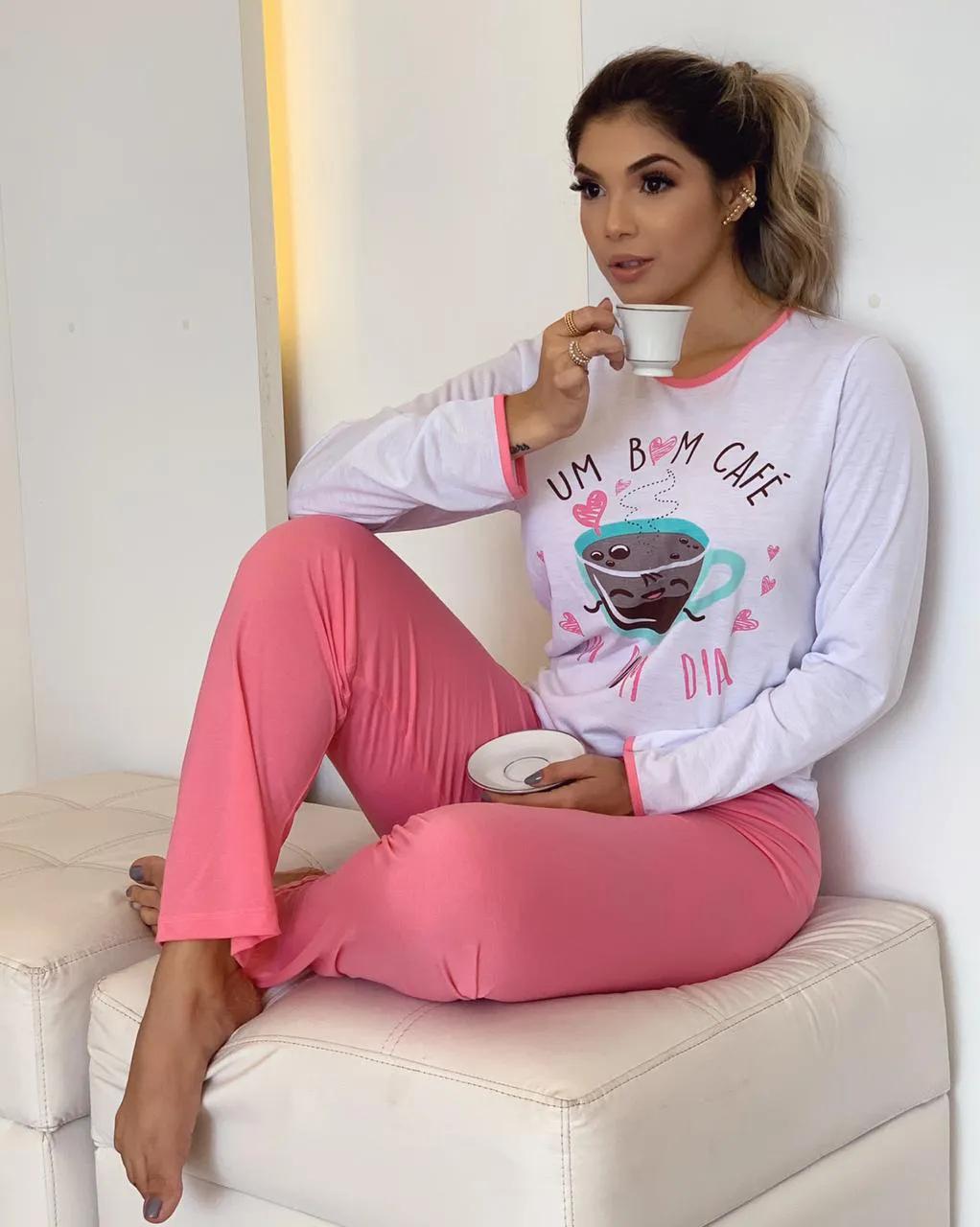 Pijama Adulto Longo Café