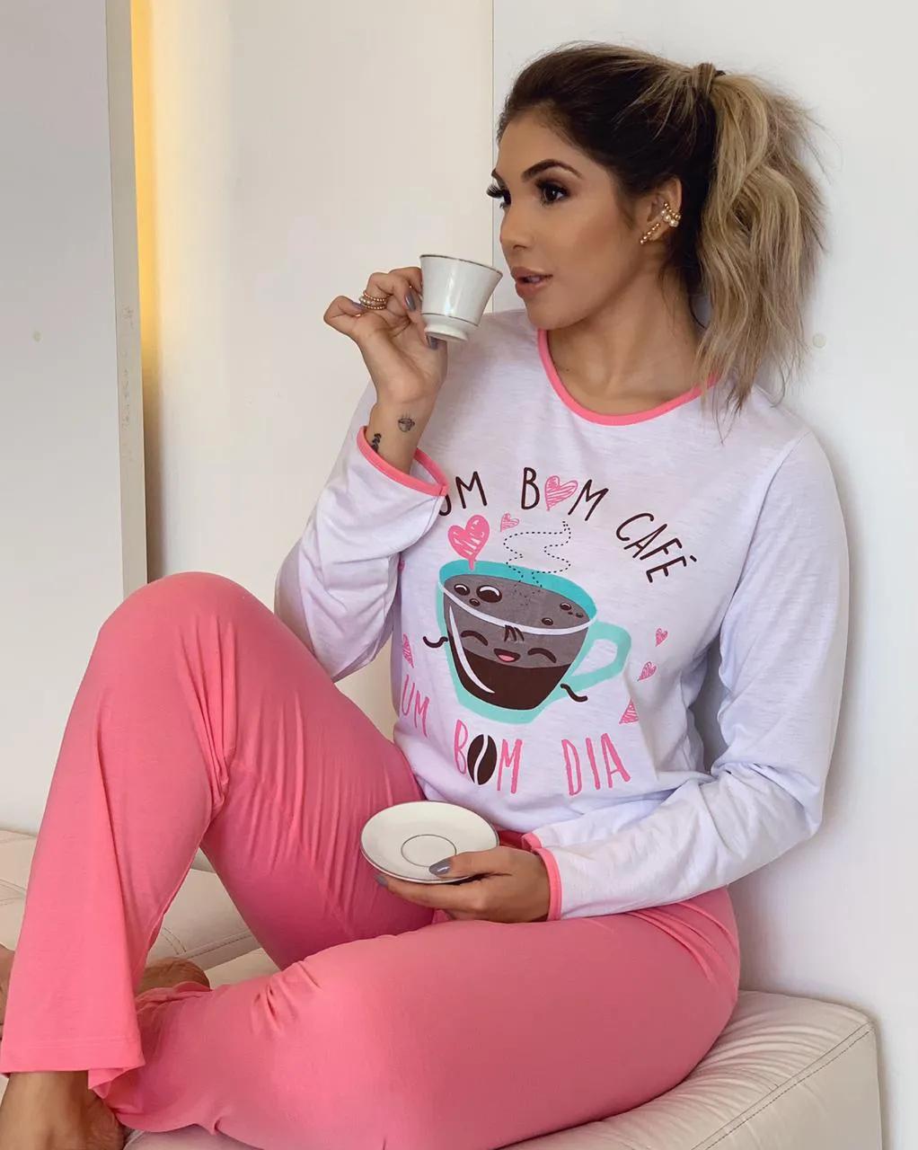 Pijama Adulto Longo Café   - RMCE BRAZIL