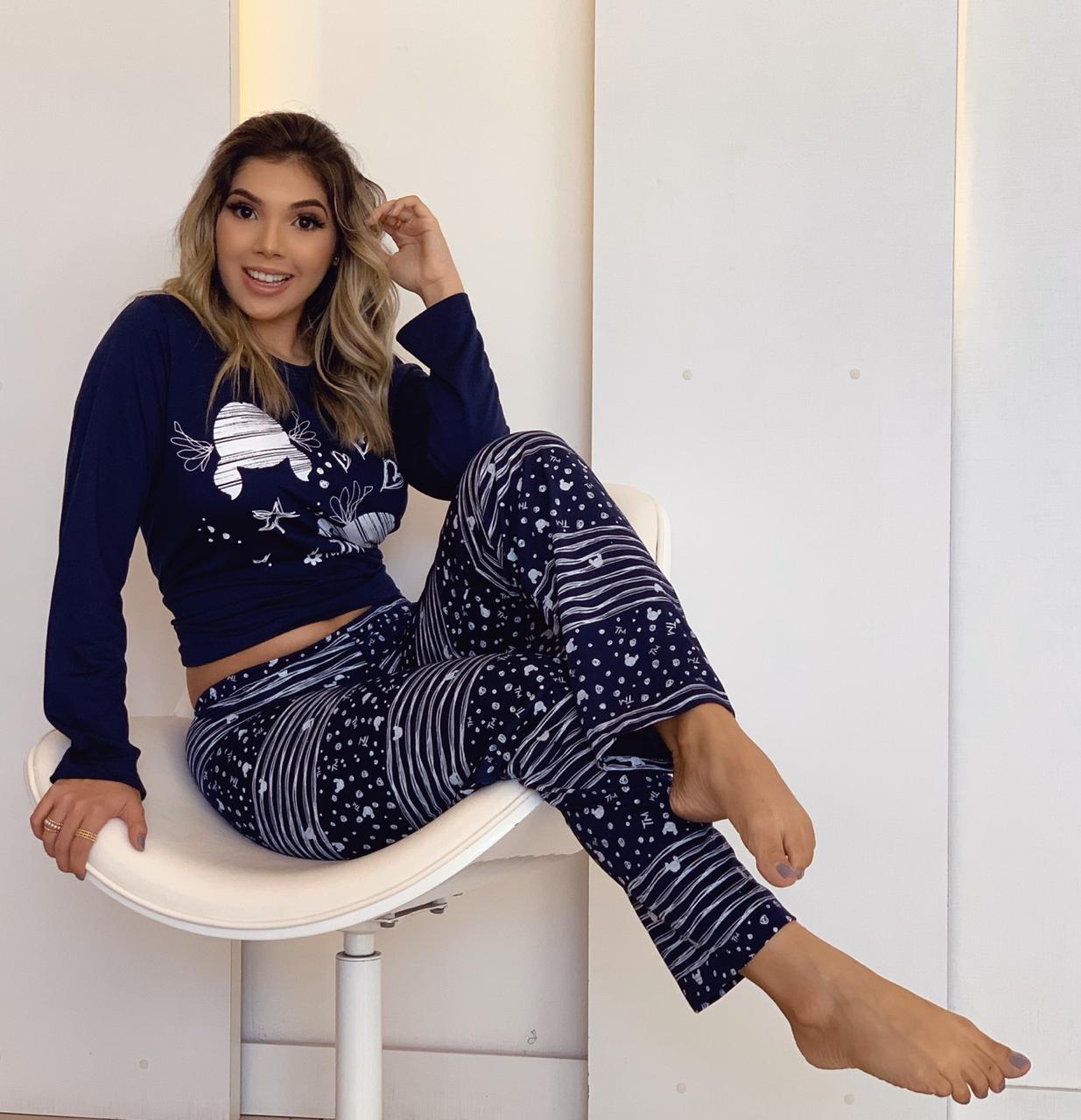 Pijama Adulto Longo Rabisco