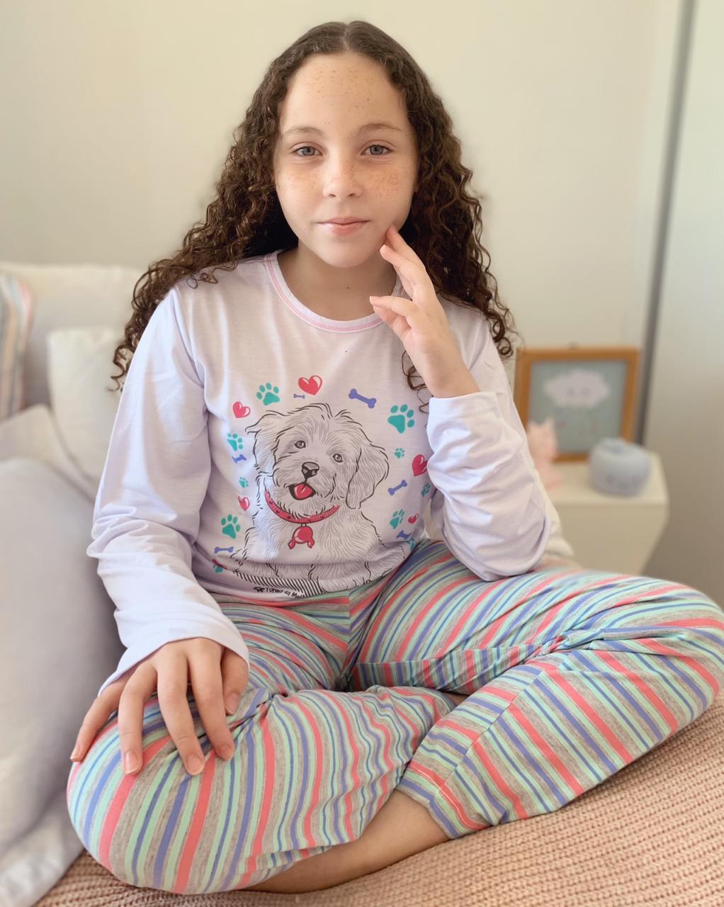 Pijama Longo Infantil Cachorro   - RMCE BRAZIL