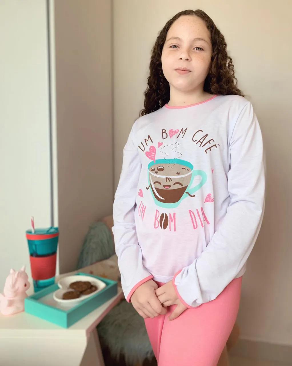 Pijama Longo Infantil Café