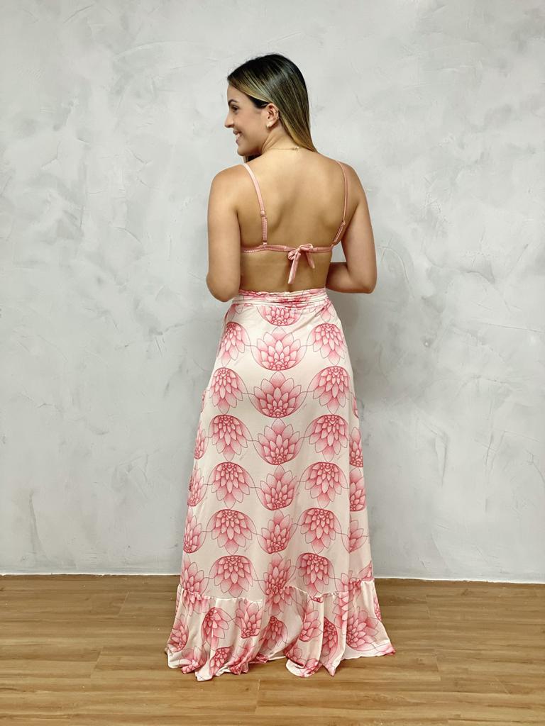 Saia Longa Babado Diagonal Flor de Lotus   - RMCE BRAZIL