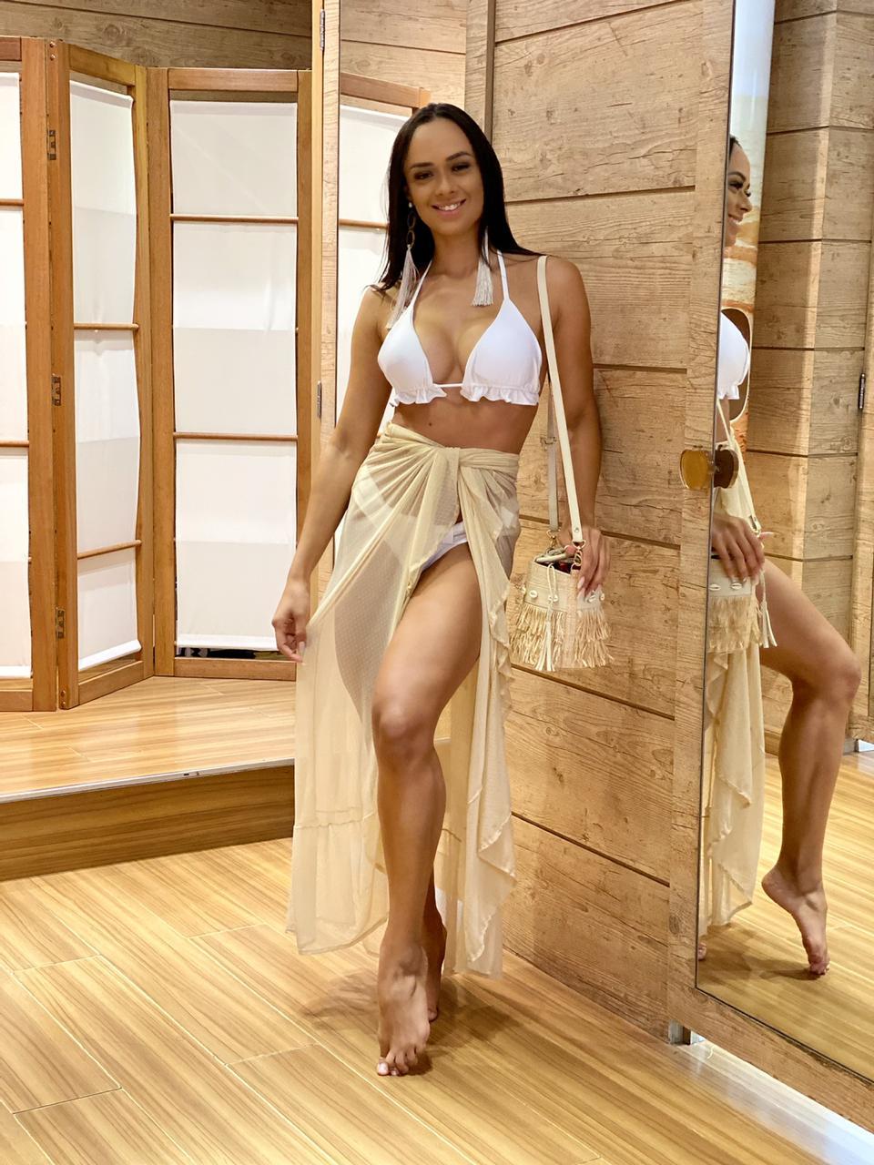 Saia Longa Babados Tule Nude  - RMCE BRAZIL
