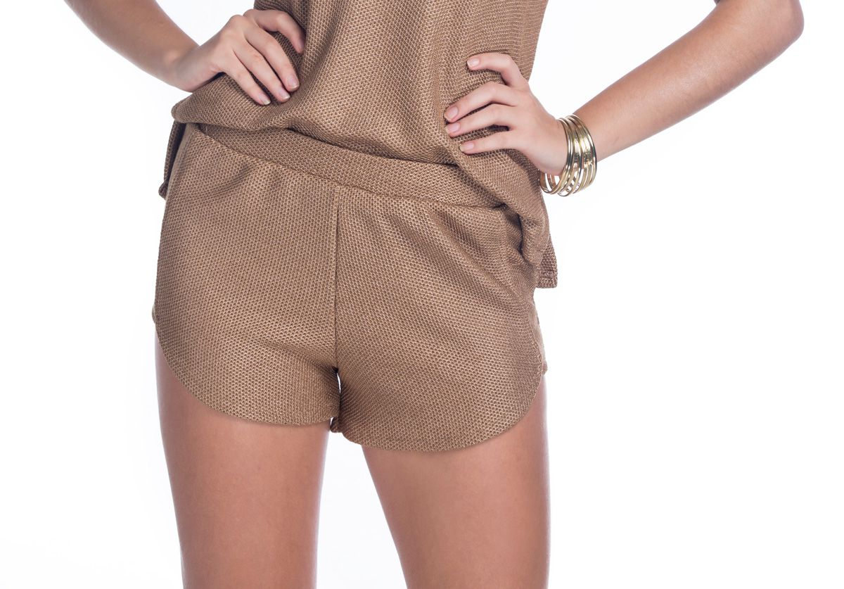 Short Boxer Tricot Metal Gold