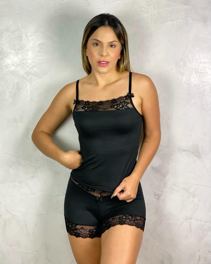 Short Doll  Renda  Preto