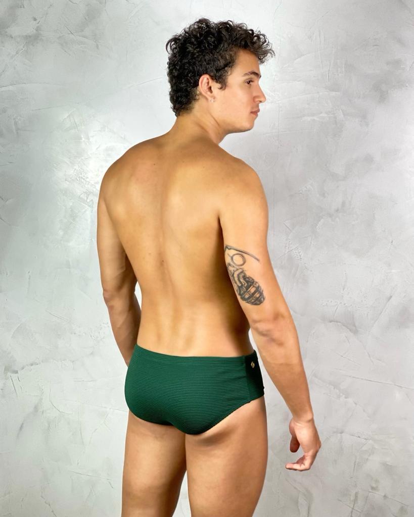 Sunga Adulto 9cm Textura Verde  - RMCE BRAZIL
