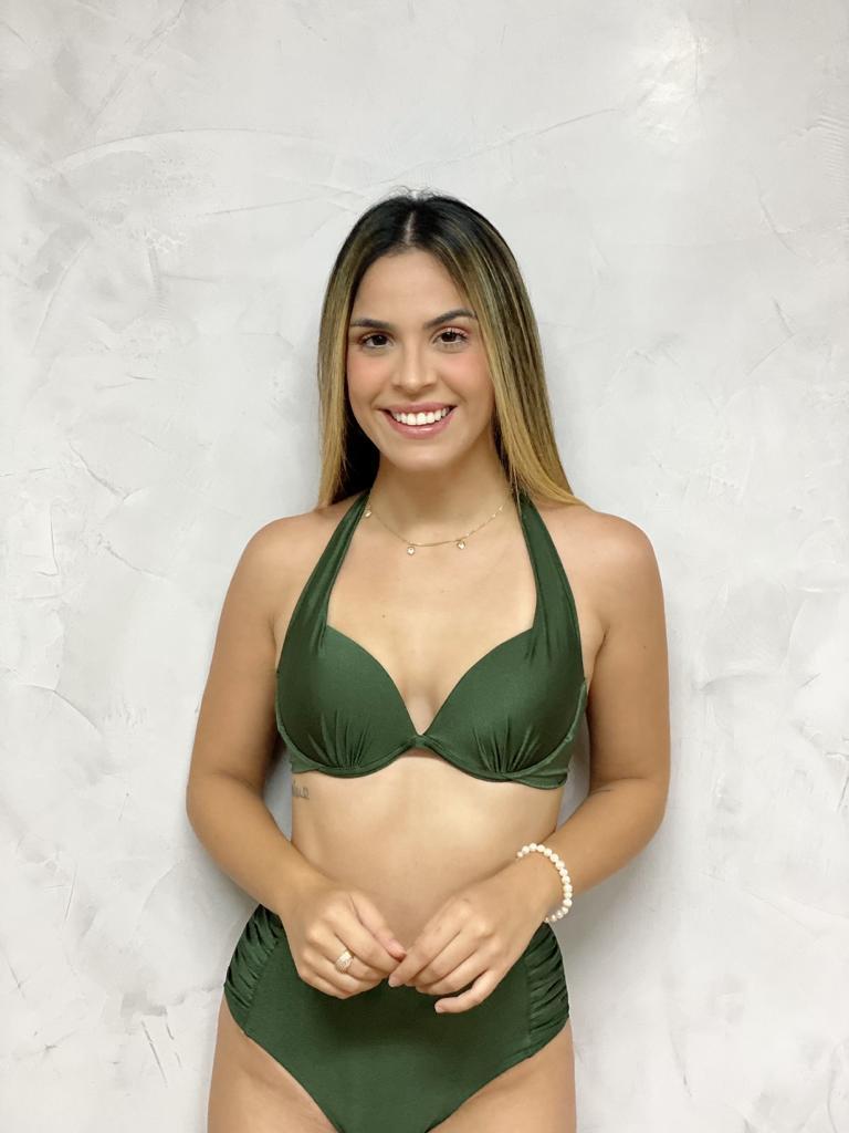 Sutiã Bojo Flocado Verde Metalizado   - RMCE BRAZIL