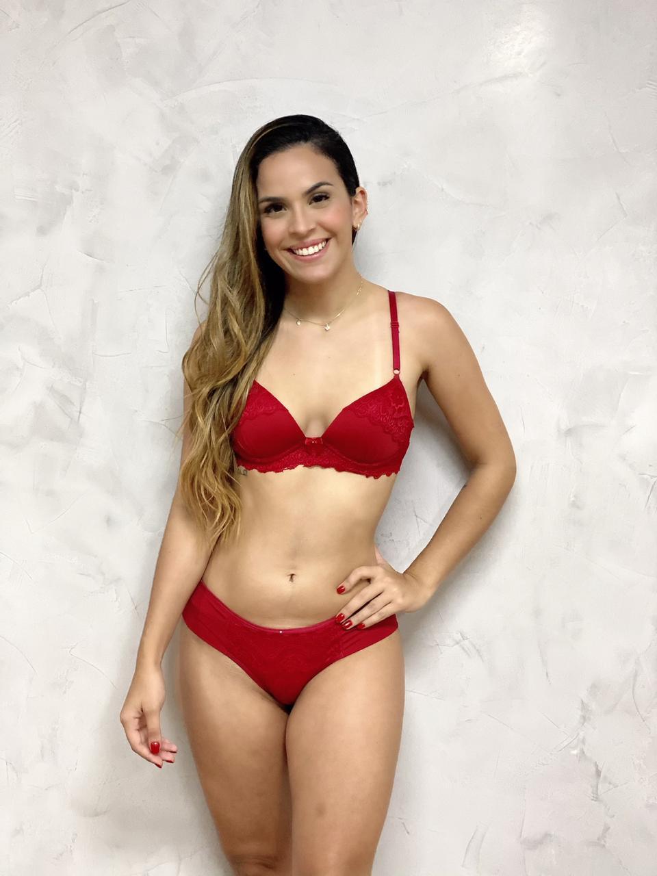 Sutiã Bojo Renda Vermelho   - RMCE BRAZIL