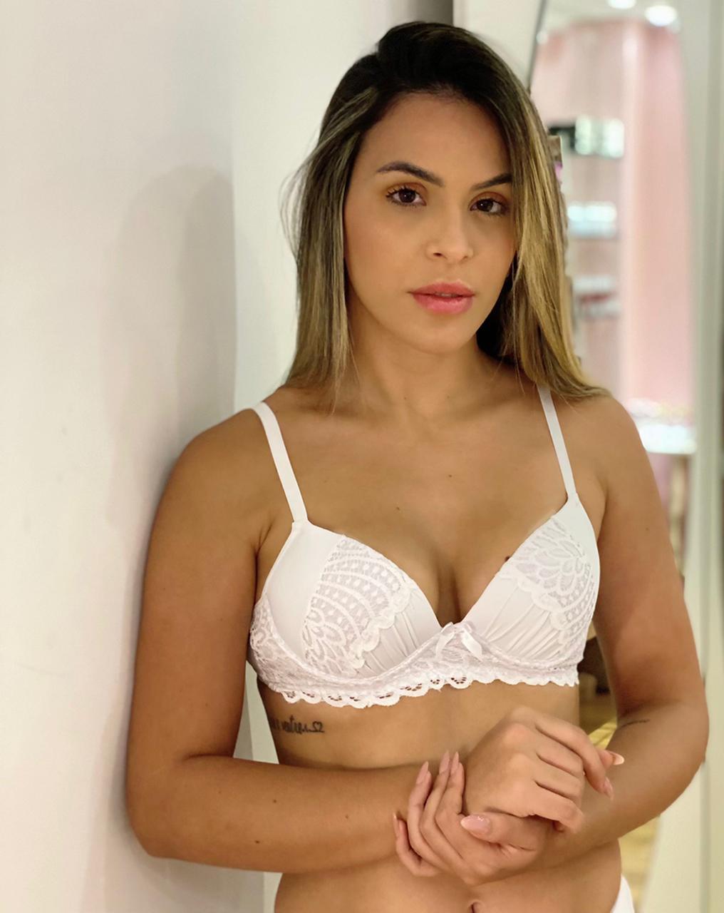 Sutiã Micro Renda Branco   - RMCE BRAZIL