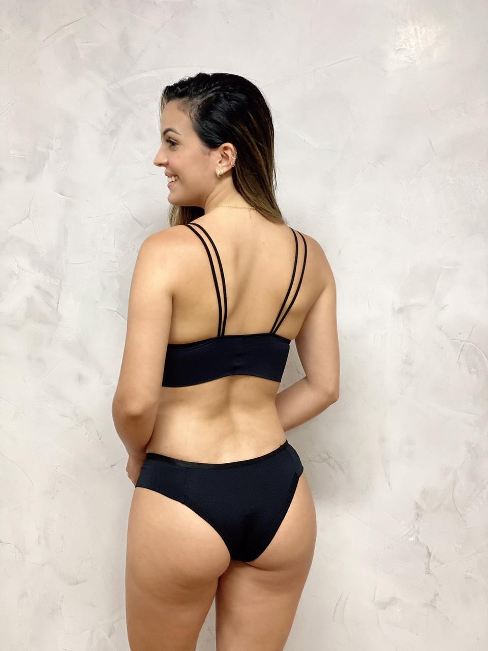 Tanga Detalhe Renda Preta   - RMCE BRAZIL