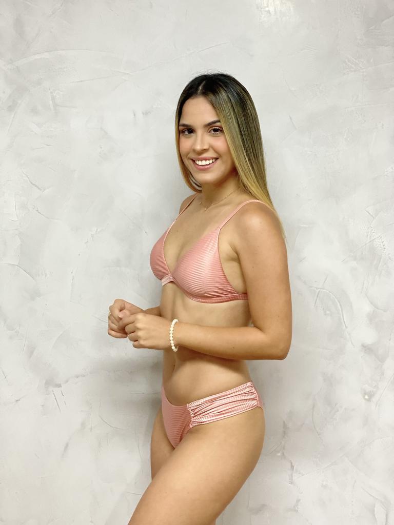Top Cortina Alça Fixa Regulagem Rose   - RMCE BRAZIL