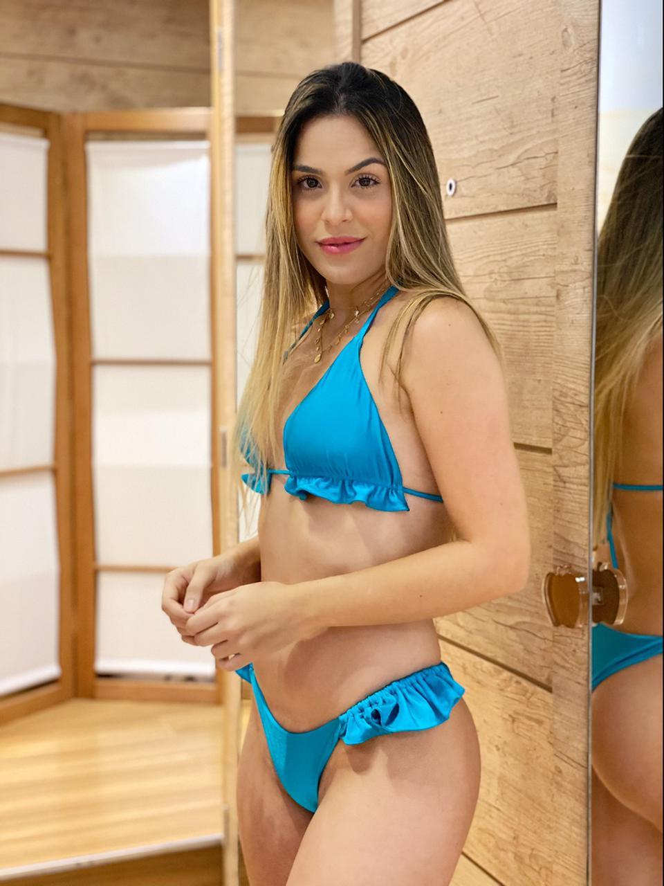 Top Cortina Bojo Babado Azul Turquesa  - RMCE BRAZIL