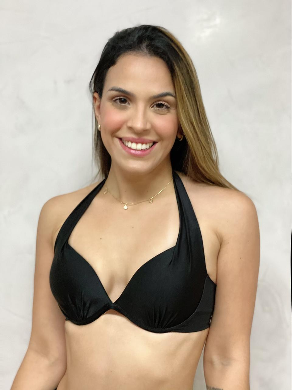 Top Flocado Aspa Azul Preto Metalizado