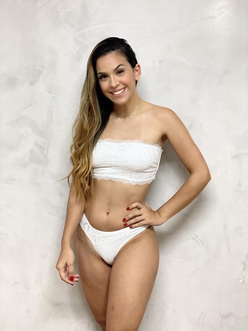 Top Tomara que Caia Renda Branco  - RMCE BRAZIL