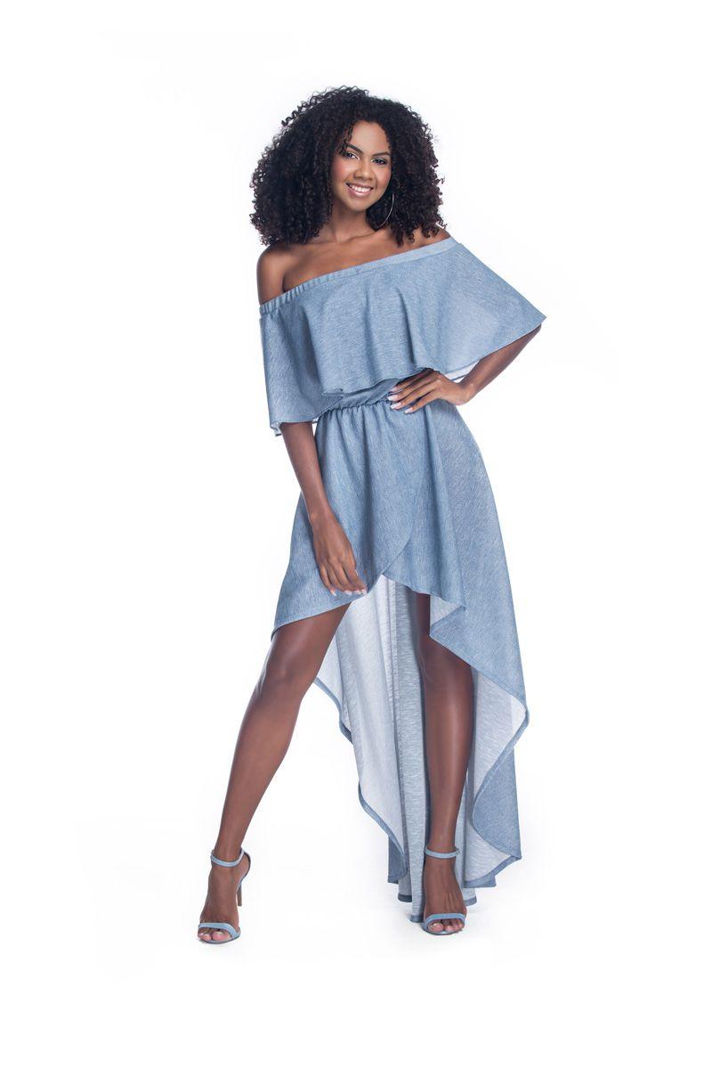 2fc6054726 Vestido Ciganinha Mullet Azul Petróleo