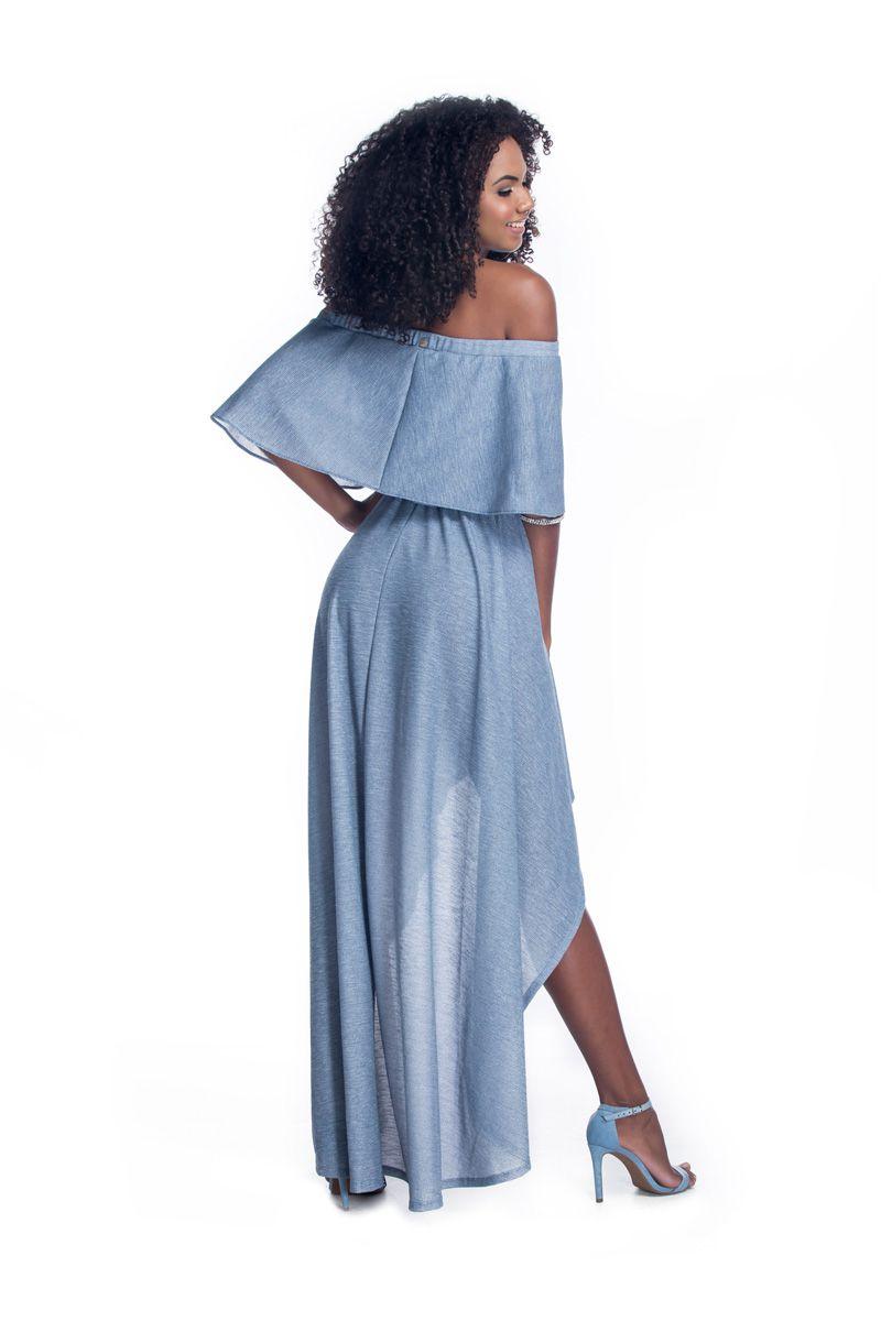 Vestido Ciganinha Mullet Azul Petróleo   - RMCE BRAZIL