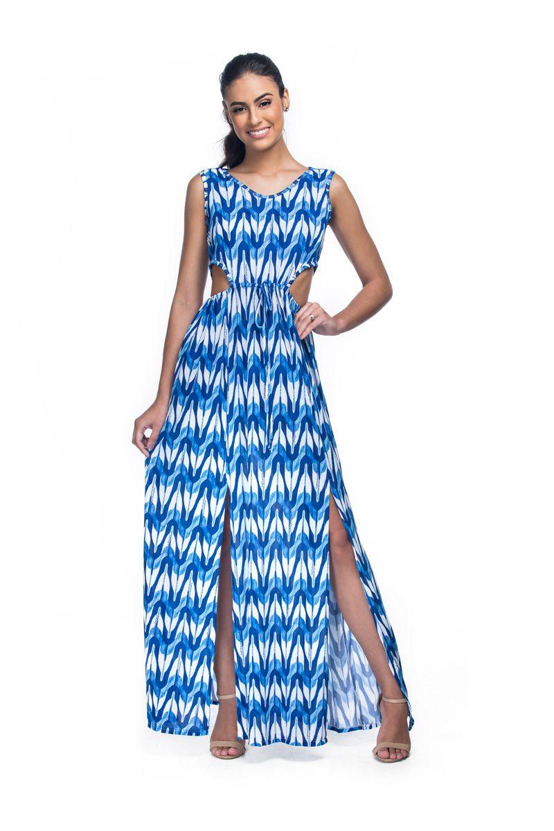 Vestido Longo Fendas Moulin Print  - RMCE BRAZIL