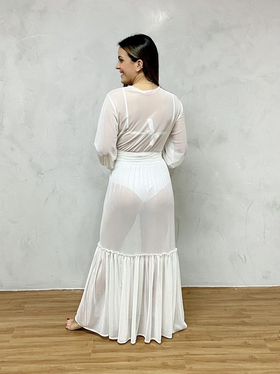 Vestido Longo Manga Elástico Branco   - RMCE BRAZIL