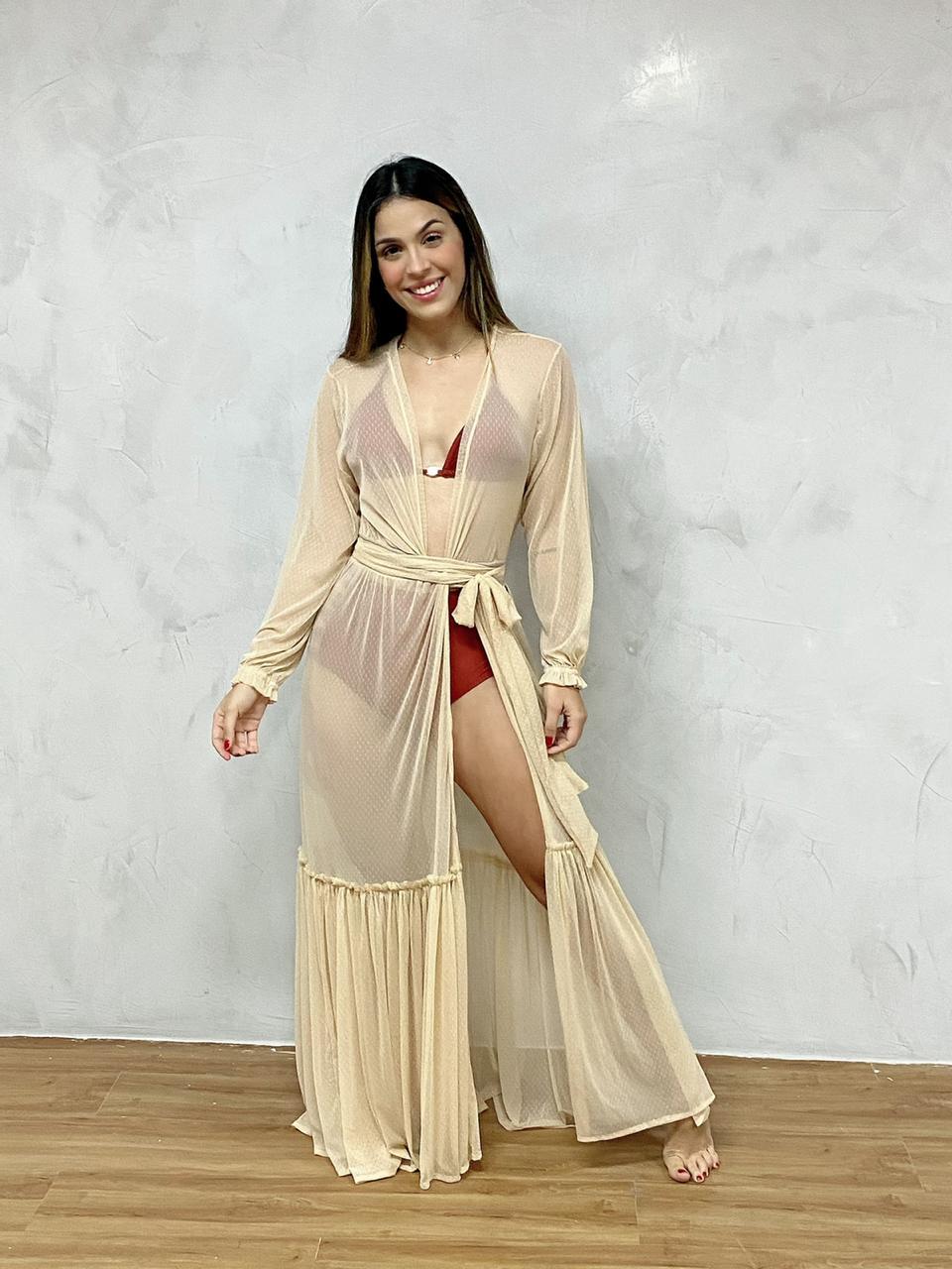 Vestido Longo Manga Elástico Nude