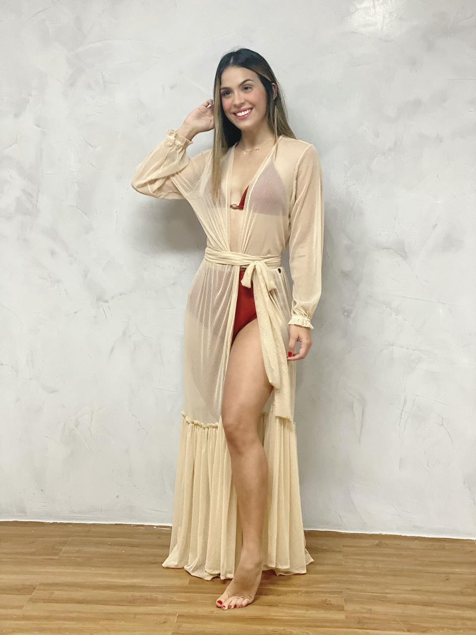 Vestido Longo Manga Elástico Nude  - RMCE BRAZIL