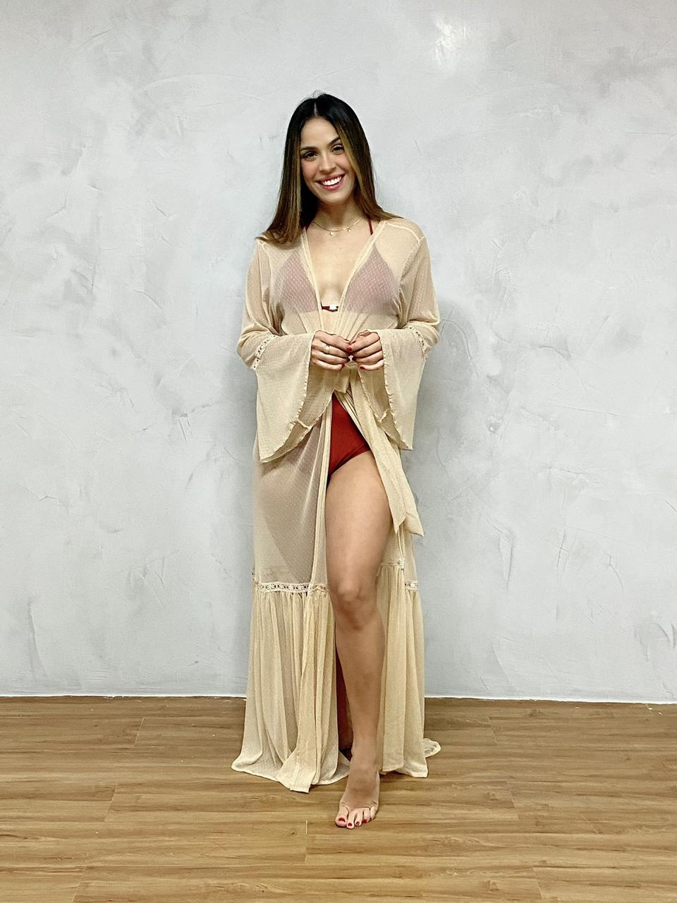 Vestido Longo Manga Flare Nude  - RMCE BRAZIL
